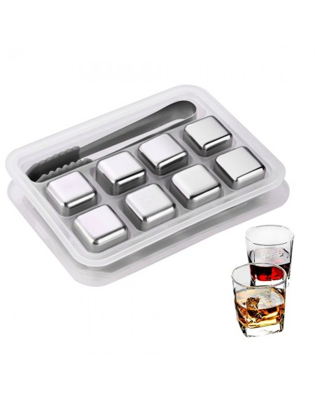 8pcs Reusable Stainless Steel Ice Cubes Chilling Stones  for Whiskey Wine Beer Juice Cool Drinks