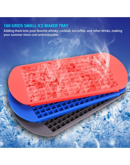 Approved Food Grade Silicone 160 Grids Small Ice Maker Tiny Ice Cube Trays Chocolate Mold Mould Maker for Kitchen Bar Party Drinks
