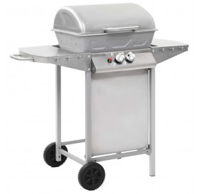 Gas barbecue with 2 cooking zones Silver steel