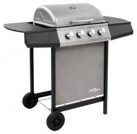 Gas grill with 4 burners black and silver