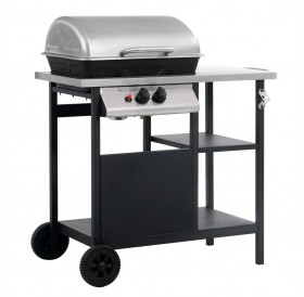 Gas barbecue with 3-layer shelf Black and silver