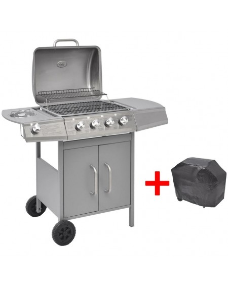 gas barbecue grill 4 + 1 silver homes