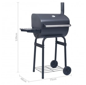 Charcoal BBQ Grill Smoker with Bottom Shelf Black