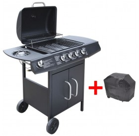 Gas Barbecue 4 + 1 Cooking Area Black