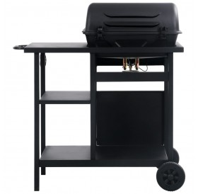Gas grill with shelf on 3 levels black