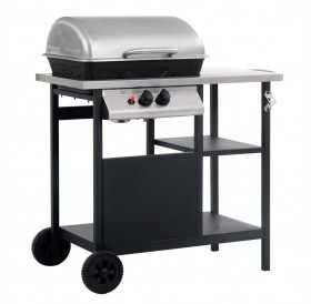 Gas grill with side table on 3 levels black and silver