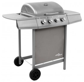 Gas grill with 4 burners silver