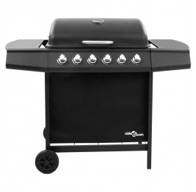 Gas grill with 6 burners black