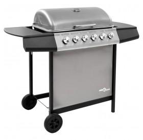 Gas grill with 6 burners black and silver