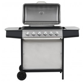 Gas barbecue with 6 cooking zones Stainless steel Silver
