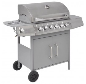 gas grill barbecue 6 + 1 silver homes