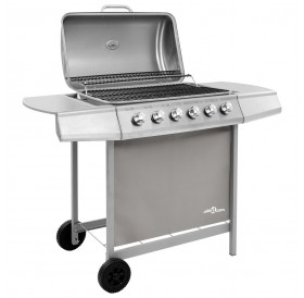 Gas grill with 6 burners silver
