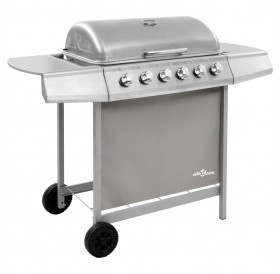 Gas BBQ Grill with 6 Burners Silver (FR/BE/IT/UK/NL only)