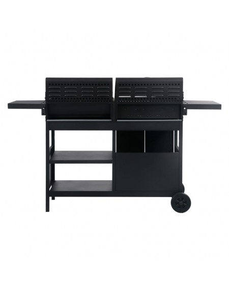 Gas and charcoal grill with 3 burners