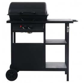 Gas barbecue with 3-level side table Black