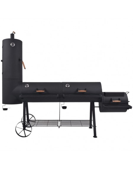 Charcoal smoker grill with black XXXL shelf