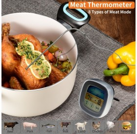 Touchscreen Meat Thermometer Food Barbecue Thermometer BBQ Grill Smoker Thermometer Timer Alert Cooking Baking Oven Digital Thermometer